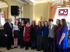 DMEP students with US Ambassador to Ireland, Kevin O'Malley and US singer-songwriter Patti Griffin at the Ambassador's Residence in the Phoenix Park on Tuesday 8 September.