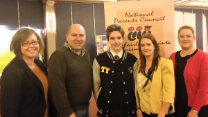 Clare Bradley, Geoff Browne (Parents Rep Donegal ETB), Darragh Harkin, Sorcha Harkin and Michelle Bradley (TY Coordinator)