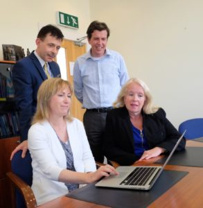 Website Launch at Donegal ETB Offices (caption, Seated L-R Ms Anne McHugh, Chief Executive, Ms Mary O'Malley, Training Services Manager;  standing L-R: Dr Martin Gormley, Education Officer, Mr Charles Gorney, Training Standards Officer)